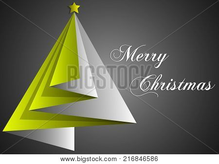 design of greetings card merry christmas with yellow triangles and black backgrounds
