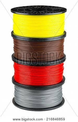 Four ABS or PLA filament coils for 3d print isolated on white background