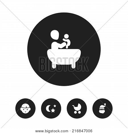 Set Of 5 Editable Relatives Icons. Includes Symbols Such As Grandpa , Son, Perambulator