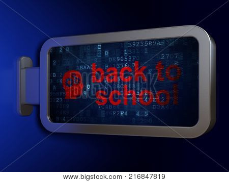 Education concept: Back to School and Head With Gears on advertising billboard background, 3D rendering