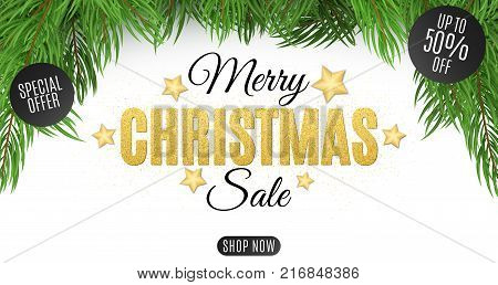 Christmas super sale. The text is made of gold glitters. Special offer discounts up to 50 percent. Christmas tree on a white background. Background for the site banner. Vector illustration