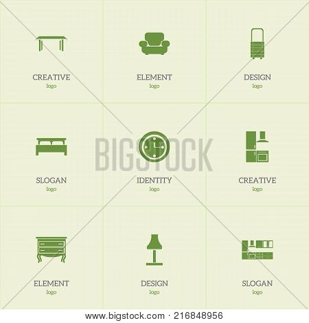 Set Of 9 Editable Furnishings Icons. Includes Symbols Such As Cooking Furnishings, Glim, Commode And More
