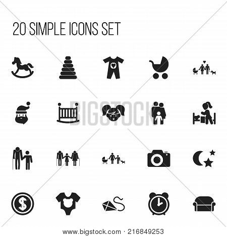 Set Of 20 Editable Family Icons. Includes Symbols Such As Perambulator, Family, Grandchild