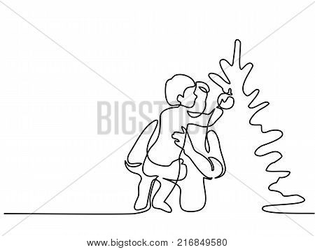 Continuous line drawing. Father helping son to decorate christmas tree. Vector illustration