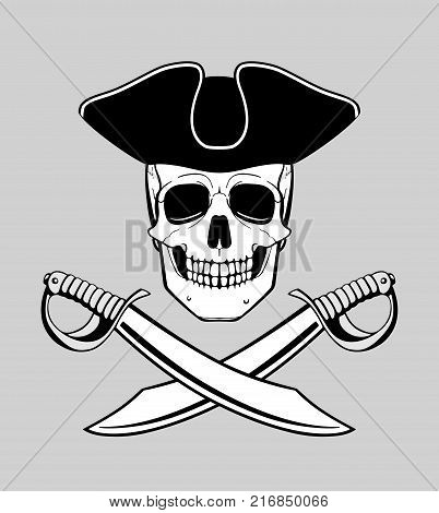 jolly roger skull in triconr with crossed broadswords, t-shirt or tattoo design