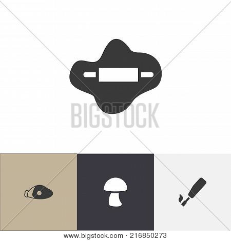 Set Of 4 Editable Food Icons. Includes Symbols Such As Champignon, Dough, Lamb Leg And More