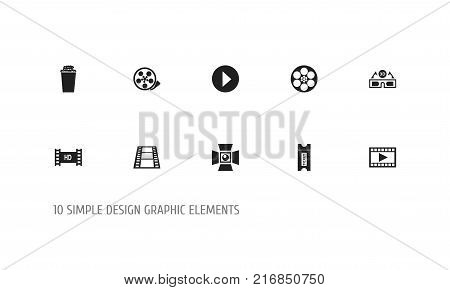 Set Of 10 Editable Filming Icons. Includes Symbols Such As Reel, Camera Strip, Film Glasses And More