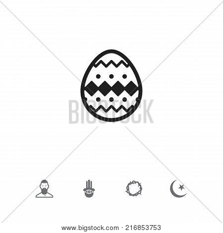 Set Of 5 Editable Religion Icons. Includes Symbols Such As Eye On Hand , Muslim, Ornamented Egg