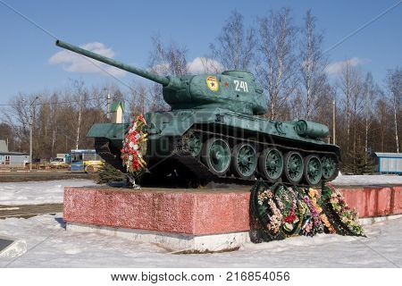 Vyazma, Russia - April 10, 2011: Monument to the Russian T-34 tank