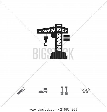 Set Of 5 Editable Building Icons. Includes Symbols Such As Lifting Equipment, Five Starlet, Hacksaw And More