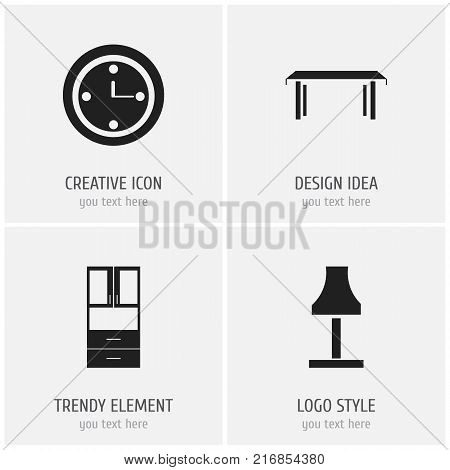 Set Of 4 Editable Interior Icons. Includes Symbols Such As Watch, Trestle, Glim And More