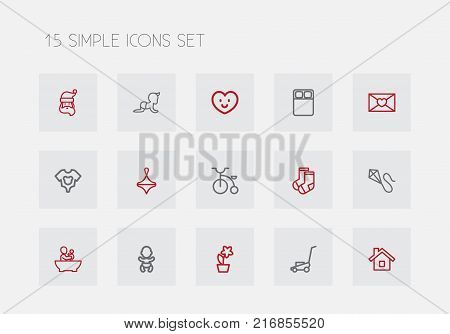Set Of 15 Editable Family Outline Icons. Includes Symbols Such As Velocipede, Dress, Infant And More
