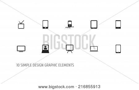 Set Of 10 Editable Gadget Icons. Includes Symbols Such As Mp3 Player, Telly, Tablet Phone And More