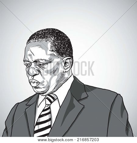 Drawing of Emmerson Mnangagwa the President of Zimbabwe. Portrait Caricature Vector Illustration Drawing. Harare, December 5, 2017