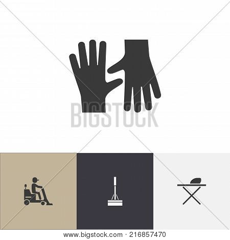 Set Of 4 Editable Cleanup Icons. Includes Symbols Such As Gauntlet, Flooring, Mopping And More