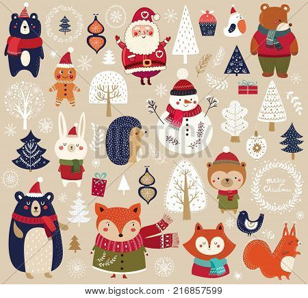 Christmas collection with cute animals: bear, fox, squirrel, bird, Santa Claus, Snowman and christmas decorative elements