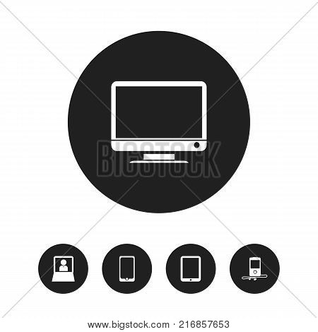 Set Of 5 Editable Gadget Icons. Includes Symbols Such As Tablet Phone, Mp3 Player, Touchscreen And More