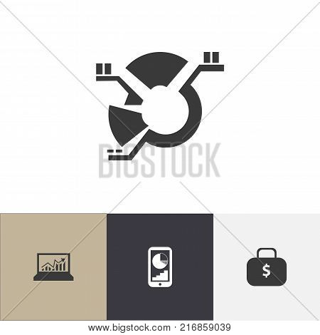 Set Of 4 Editable Statistic Icons. Includes Symbols Such As Money Bag, Laptop Statistics, Phone Statistics And More