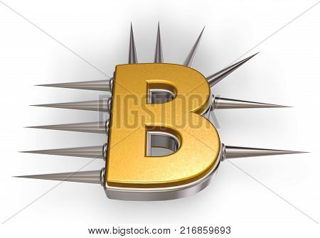 letter b with metal prickles on white background - 3d illustration