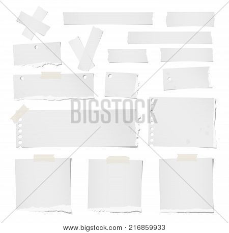 Ripped blank note, notebook, adhesive, masking tape paper for text or message stuck on white background.