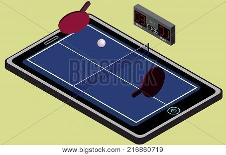Infographic ping pong blue tennis playground ball and rackets. Isometric image. Isolated. In vector
