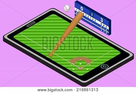 Infographic baseball playground ball baseball bat and tablet. Isometric baseball image. Isolated. In vector