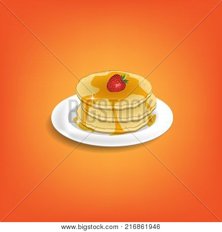 Pancakes with Strawberry and Maple Syrup. Breakfast and Dessert for Your menu card postcard and invitation design. Vector Illustration