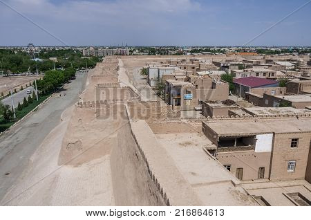 Khiva, Uzbekistan -April 30, 2015: View to walls and towers of old city