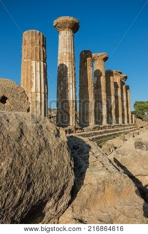Temple Of Heracles In The Valle Dei Templi In Agrigento, Sicily, Italy