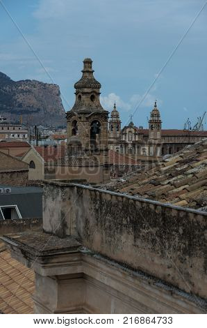 Sicilian Town Of Palermo Skyline Over Roofs Of Historic Buildings With Belltower Of Church Martorana