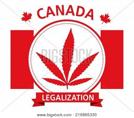 red cannabis legalization canada emblem vector logo
