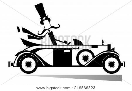 Mustache man drives a retro car isolated. Smiling mustache man in the top hat drives a retro car