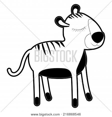 female tiger cartoon with closed eyes expression in black silhouette with thick contour vector illustration