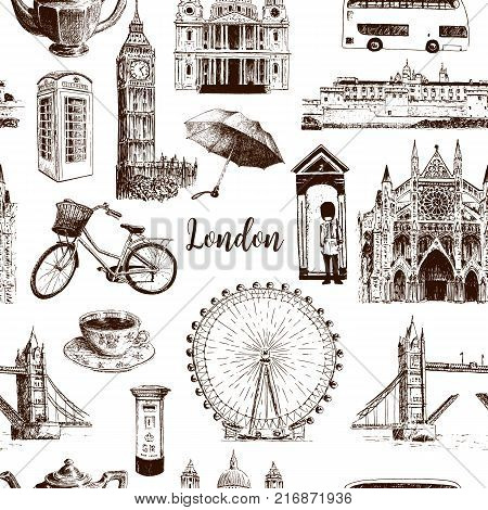 London architectural symbols: Big Ben, Tower Bridge, town bus, mail box, call box. St. Paul Cathedral. Beautiful hand drawn vector seamless pattern sketch illustration. For advertising, City panorama
