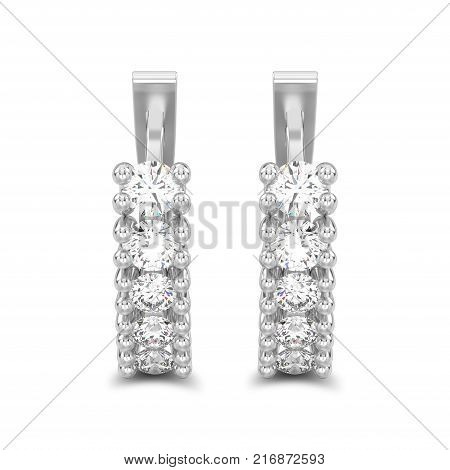 3D illustration isolated two white gold or silver decorative diamond earrings with english lock with shadow on a white background