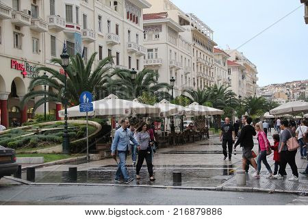 THESSALONIKI, GREECE - SEPTEMBER 15, 2012:This is the square of Aristotle after a short autumn rain.