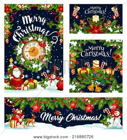 Christmas greeting card and banner for winter holiday celebration. Santa, snowman and Xmas tree with gift and present, holly wreath, bell, candle, ball and sock with Christmas garland frame