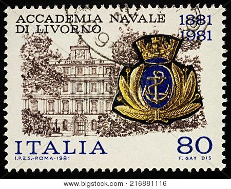 Moscow Russia - December 04 2017: A stamp printed in Italy shows Livorno Naval Academy and its emblem series