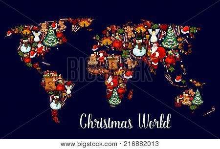 Christmas world map with New Year holiday symbol. Xmas tree, gift and bell, Santa Claus, snowman and present, holly berry, candy and candle, sock, cookie and reindeer sleigh, gingerbread house and hat