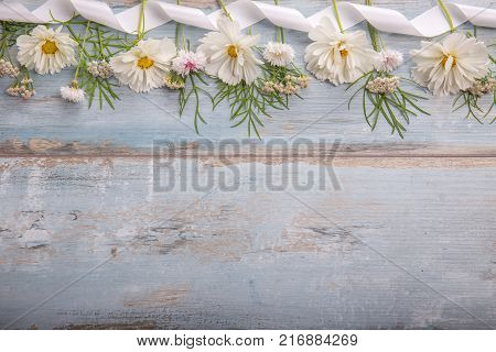 A bouquet of white flowers cosmea on blue rustic boards. Copy space. Mother's, Valentines, Women's, Wedding Day concept.