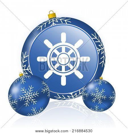 Ship wheel blue christmas balls icon