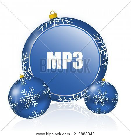 Mp3 blue christmas balls icon