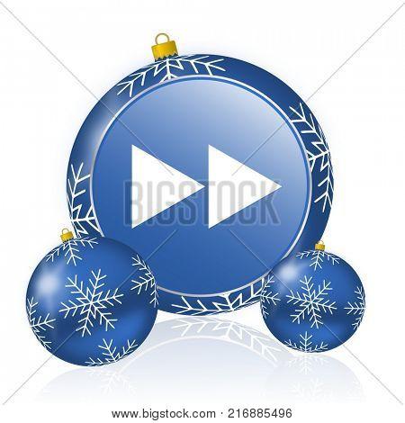 Rewind blue christmas balls icon