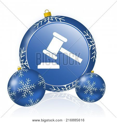 Auction blue christmas balls icon