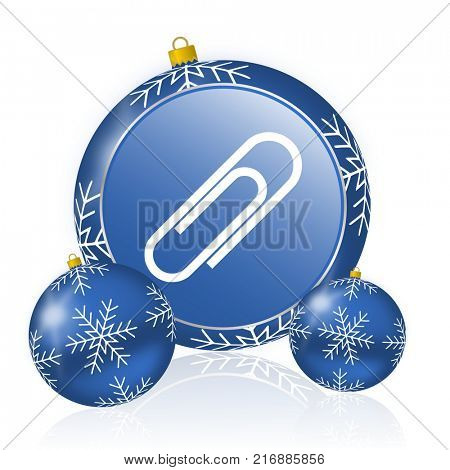 Paperclip blue christmas balls icon