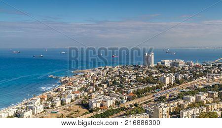 View of the Mediterranean Sea, Haifa Bay and Bat Galim neighborhood from slopes of Mount Carmel in Haifa, Israel