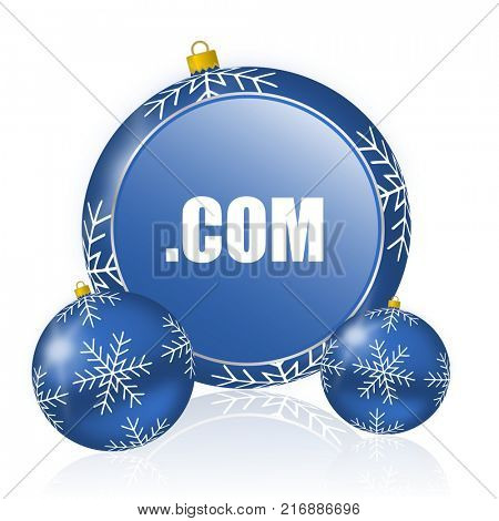 Com blue christmas balls icon