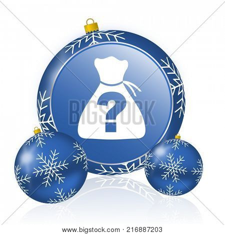 Riddle blue christmas balls icon poster