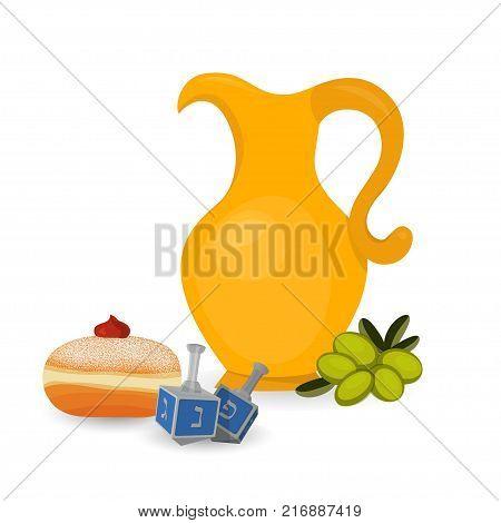 Oil jug, hanukkah spinning top, olives and sufganiyah doughnut, traditional holiday symbols of Jewish holiday of Hanukkah