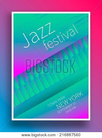 Jazz music festival poster design template. Piano keys. Vector illustration flyer for lounge jazz concert.